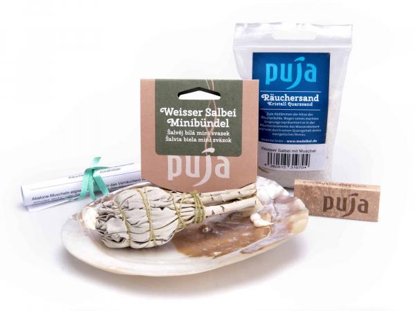 Set Muschel mit weißem Salbei